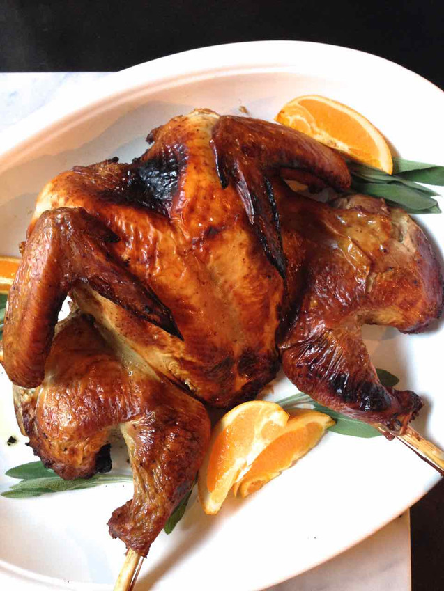 BUTTERFLIED, ROASTED GARLIC BOURBON TURKEY {Spatchcocked Turkey}