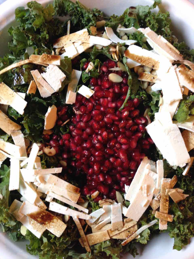 KALE, POMEGRANATE AND RICOTTA SALATA WITH SWEET & SOUR VINAIGRETTE