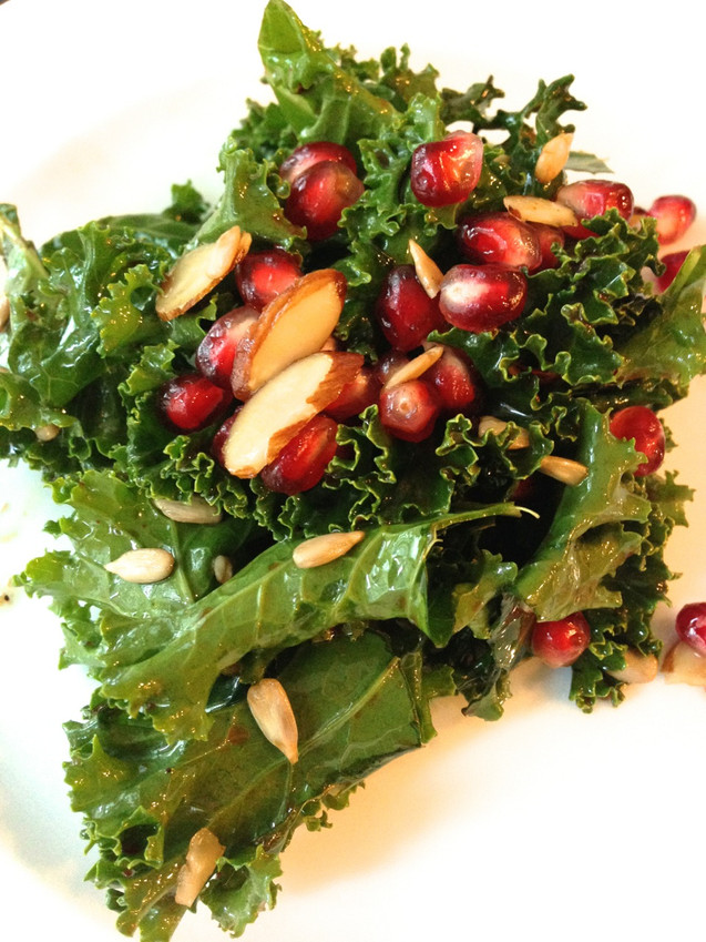 KALE, POMEGRANATE, ALMONDS AND SUNFLOWER SEEDS WITH SWEET & SOUR VINAIGRETTE