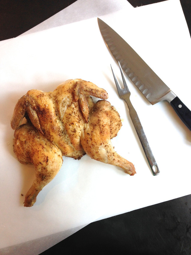 BUTTERFLIED, ROASTED CHICKEN