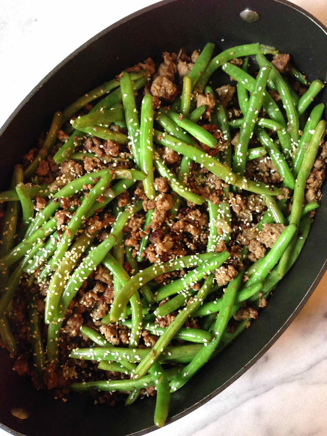 STIR-FRIED GREEN BEANS WITH GROUND PORK & BEEF