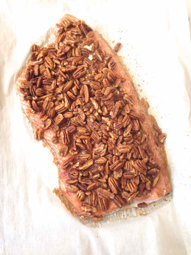 MAPLE HONEY PECAN CRUSTED SLOW-COOKED SALMON