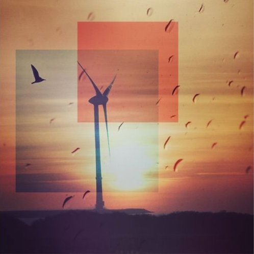 Greeting card - Windmill and birds