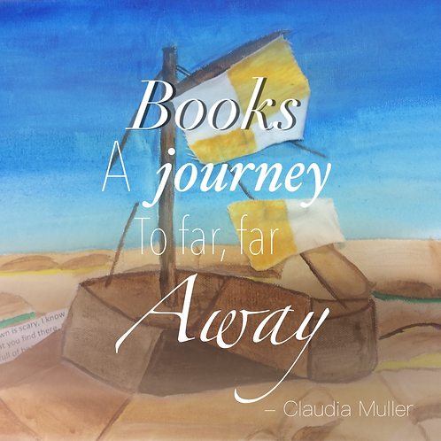 Greeting Card - Books, a journey