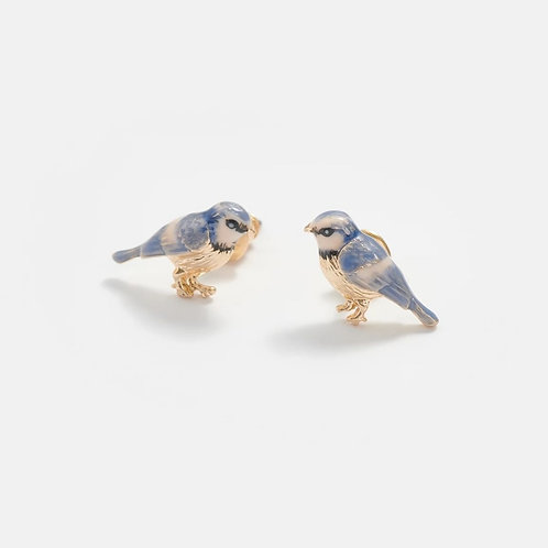 Enamelled Blue Tit Earrings