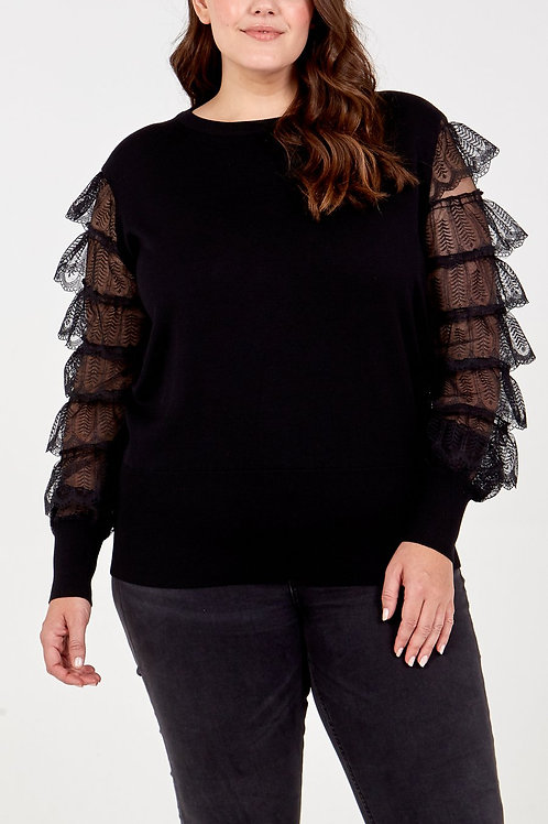Tiered Lace Sleeve Jumper
