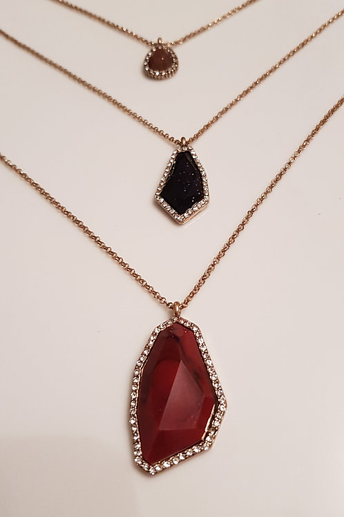 Stacking Necklace in Burgundy