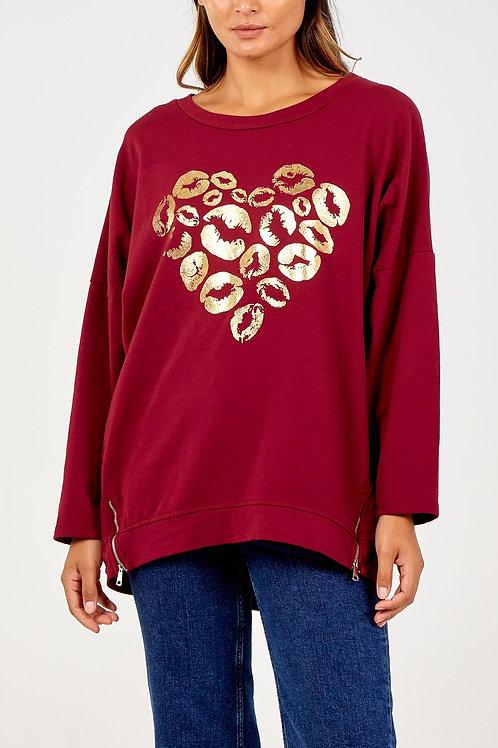 Metallic Heart Lips Sweater