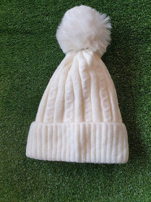 Kitted Pom Pom Hat Fleece Lined