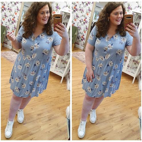 Blue Floral Smock Dress