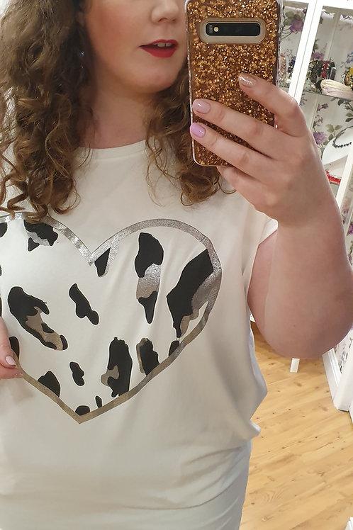 Oversized Heart Print Tshirt