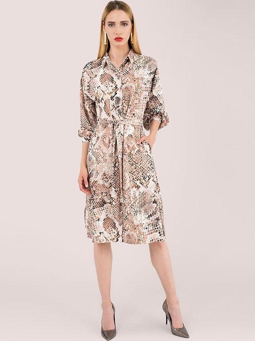 Closet Snake Skin Shirt Dress With Kimono Sleeve
