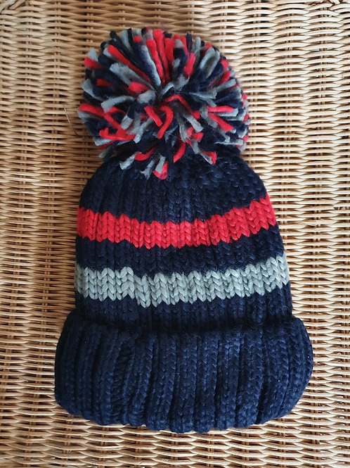 Stripe Fleece Lined Bobble Hat