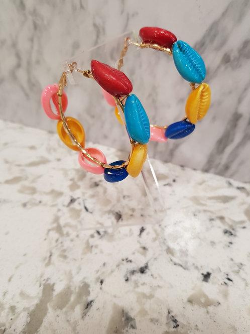 Sea Shell Multi Coloured Hoops