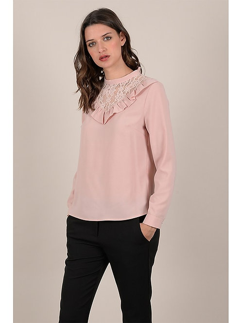 Pink Top With Lace Detail