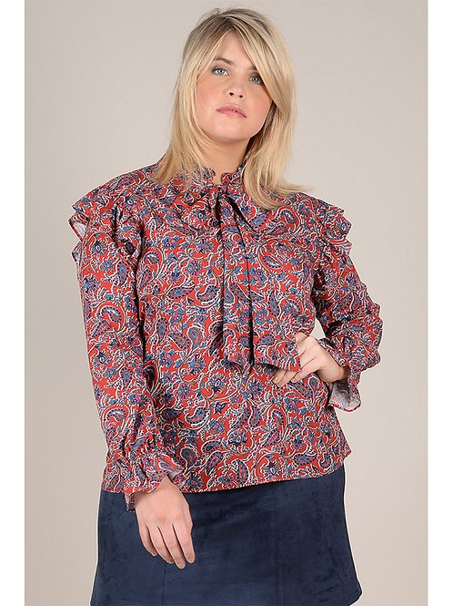 Paisley Pussy Bow Blouse