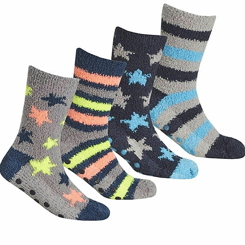 2 Pack Boys Fluffy Socks With Grippers