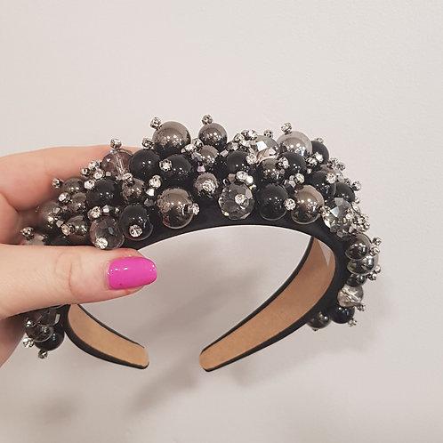 Black & Silver Beaded Hair Crown