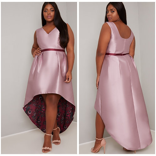 Dipped hem dress with floral underlay