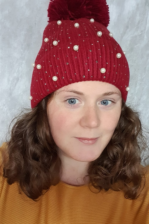Knitted Pearl Beanie
