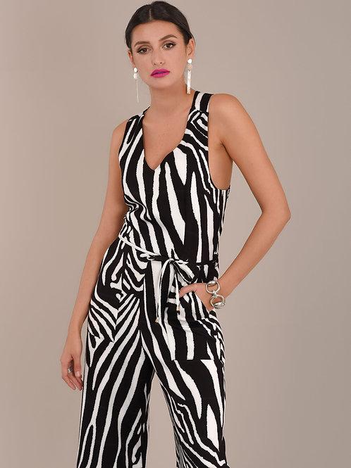 Zebra Print Criss Cross Jumpsuit