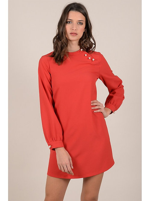 Red Swing Dress with Pearls