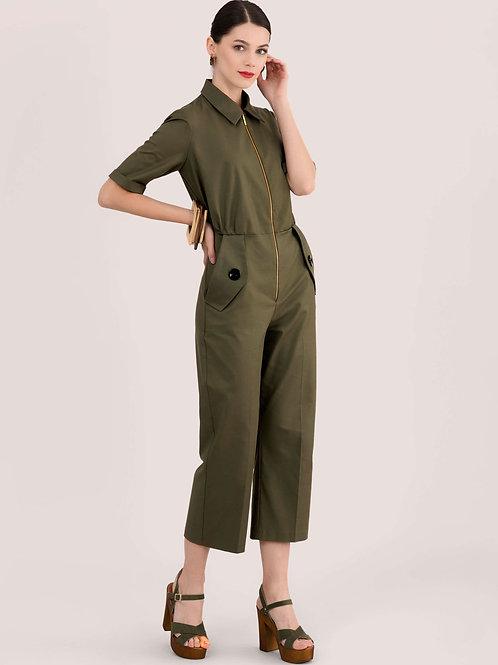 Khaki Zip Up Boiler Suit