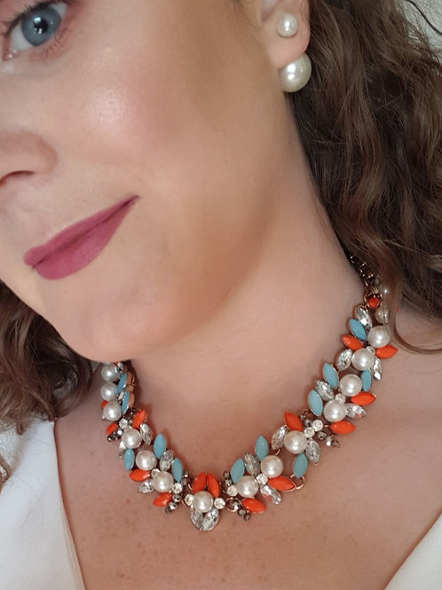 """Kellie"" Necklace Orange and Blue"