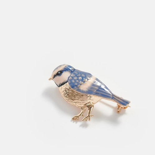 Enamelled Blue Tit Brooch