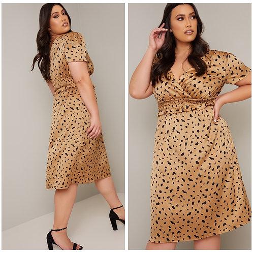 Gold Satin Animal Print Dress