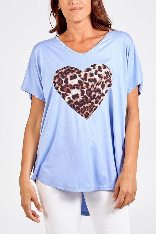 Oversized tshirt with leopard heart