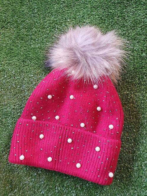 Fur Pom Pom Hat Pearl Detail