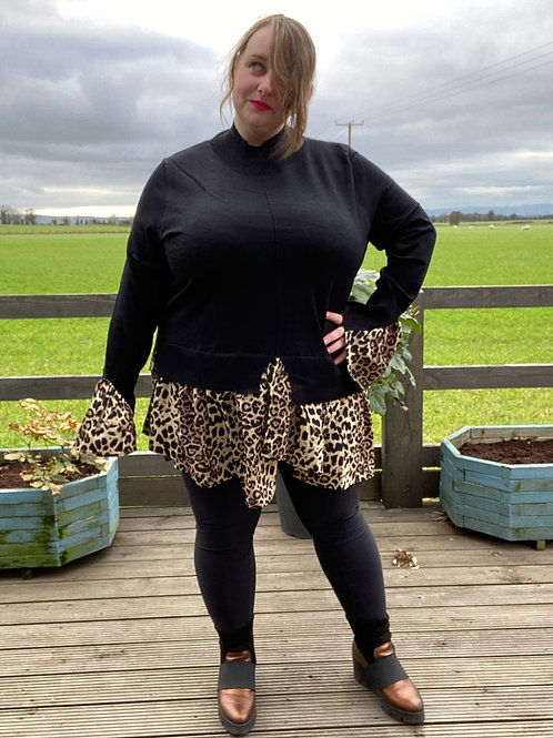 High Neck Jumper with leopard edge