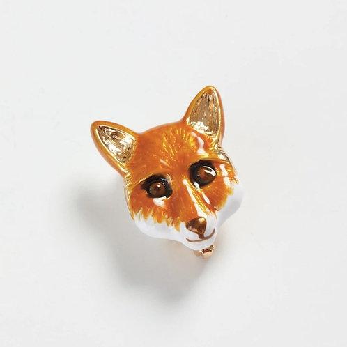 Enamelled Fox Brooch