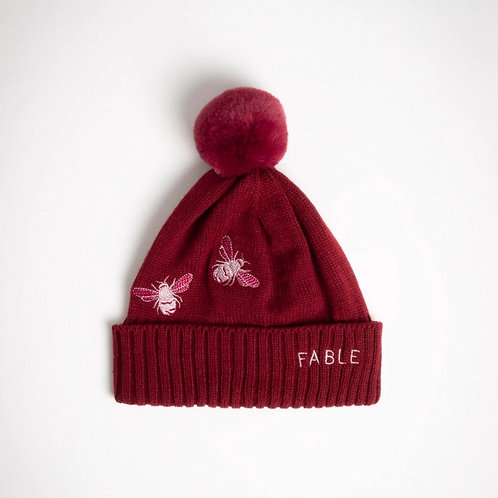 Burgundy Pom Pom Bee Hat