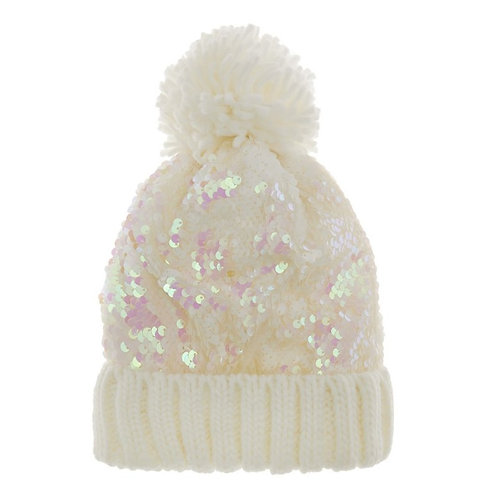Sequin Kitted Pom Hat