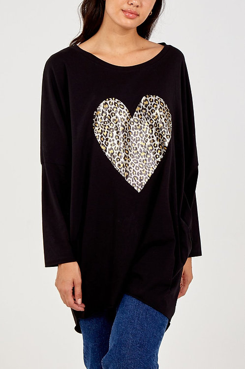 Oversized  Foil Leopard Heart Top