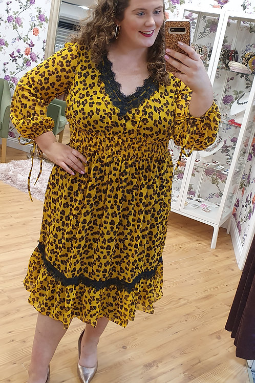 Yellow Leopard Print Dress