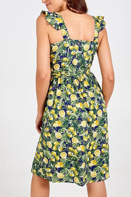 Lemon Tropical Print dress