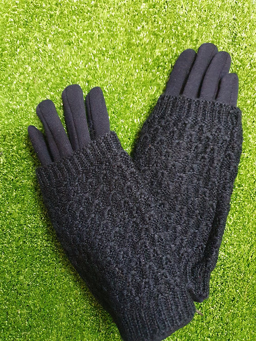 Navy Glove with Knitted Over Lay