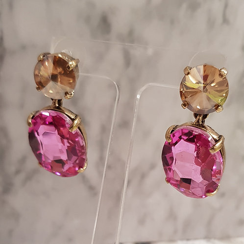 Gold & Pink Droplet Earring