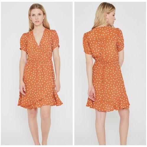 Rust Polka Dot Wrap Dress