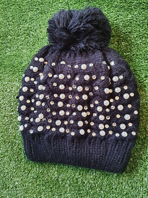 Knitted Pearl Diamante Pom Pom Hat