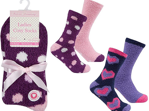 Ladies Fluffy Socks with Grippers