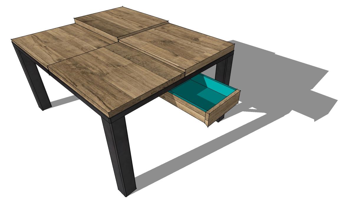 table basse #9.1 3D tiroir ouvert
