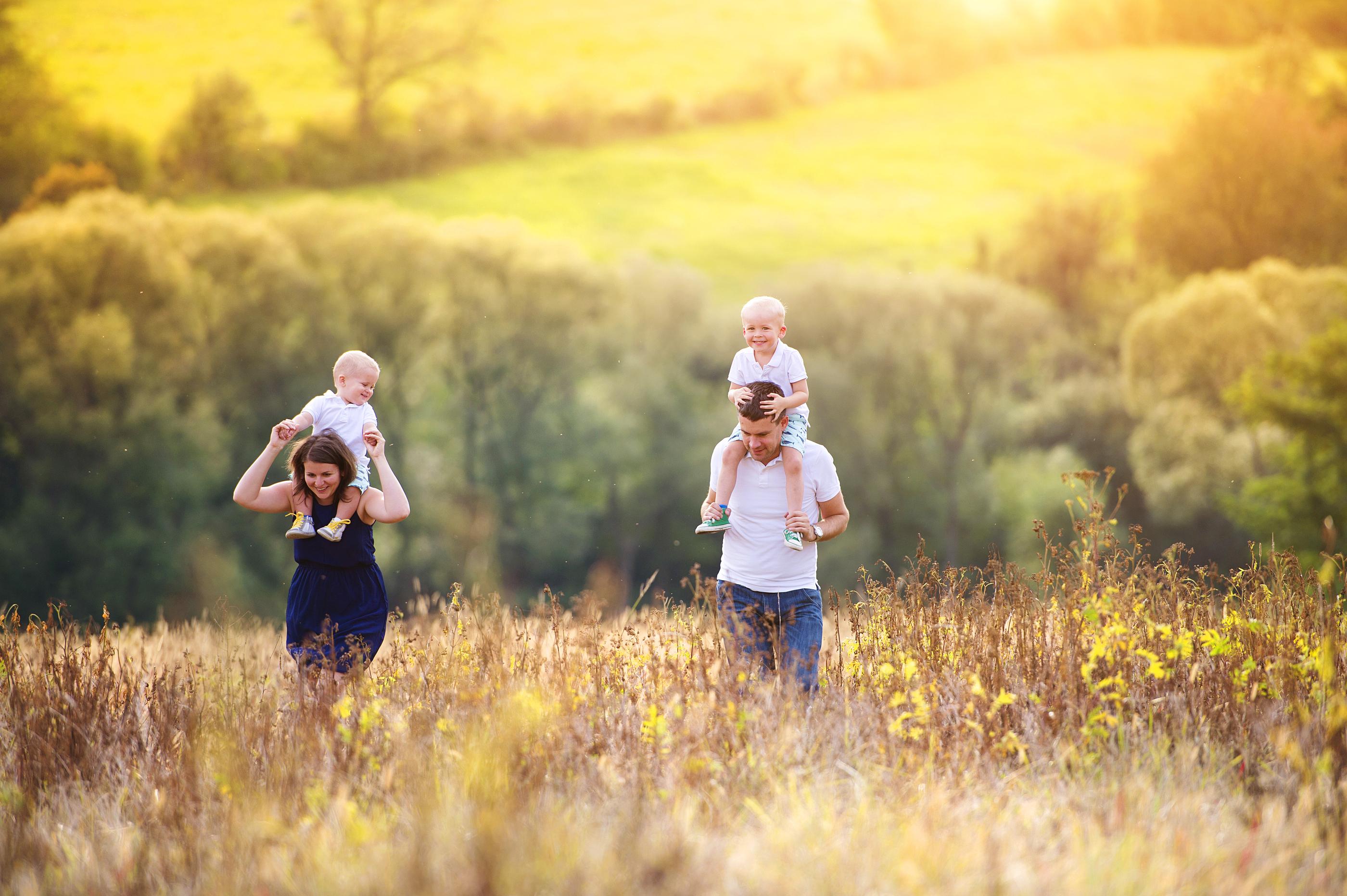 Family enjoying life together outside