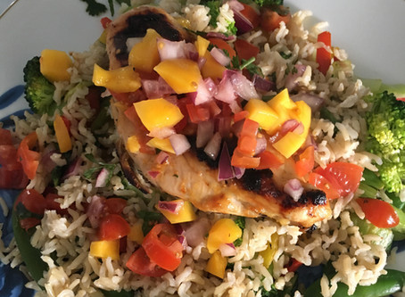 Lime and Mango Chicken with Crispy Veggies and Salsa