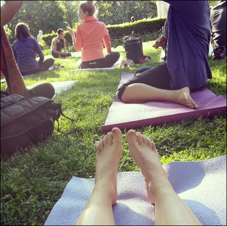 Outdoor yoga - from the mat