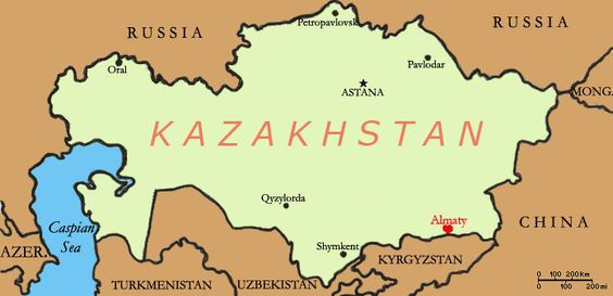 Map showing Kazakhstan