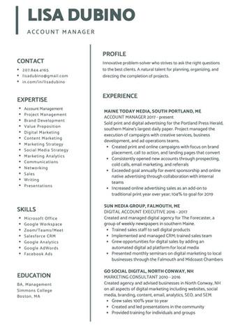 Mid-Career Line Resume